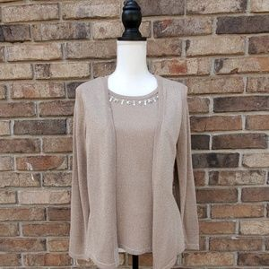 NY Collection womens sweater 2 in 1 embellished